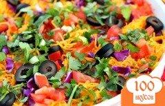 Фото рецепта: «Салат с фасолью, нутом и овощами»