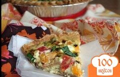 Фото рецепта: «Киш с козьим сыром и помидорами»
