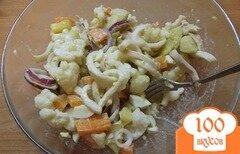 Фото рецепта: «Салат с кальмаром, картофельный»
