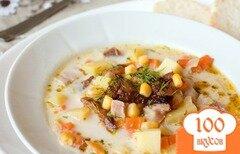 Фото рецепта: «Сливочный суп с копченой курицей»