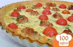 Фото рецепта: «Киш с помидорами черри и мясными шариками»