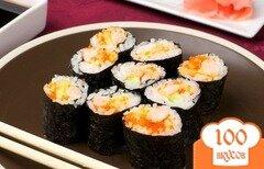 Фото рецепта: «Роллы с креветками и икрой Тобико»