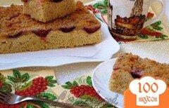 """Фото рецепта: «Пирог """"Сливы в творожной заливке""""»"""