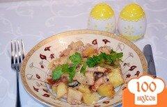 Фото рецепта: «Картофель с колбасой, тушеный на молоке»