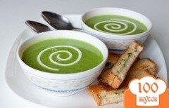 Фото рецепта: «Суп-пюре из зеленого горошка с творожно-луковой гренки»