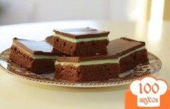 Фото рецепта: «Мятные брауни с глазурью»