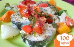 Фото рецепта: «Рыба запеченная с овощами в сливках»