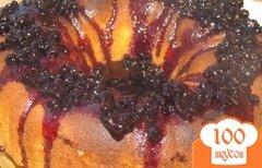 Фото рецепта: «Манник на сметане с фруктами и черничным сиропом»