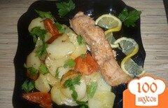 Фото рецепта: «Лосось с картофелем, запечённый в духовке»