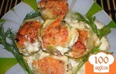 Фото рецепта: «Фаршированные кабачки в белом соусе»