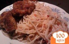 Фото рецепта: «Паста макарони с курицей в панировке»