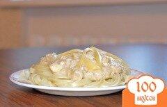 Фото рецепта: «Спагетти с сырно-рыбным соусом»