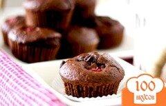 Фото рецепта: «Шоколадные кексы с малиной»