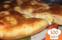 Фото рецепта: «Пирог с яйцом, ветчиной и сыром»