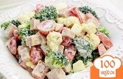 Фото рецепта: «Cалат с брокколи и цветной капустой»