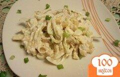 Фото рецепта: «Куриный салат с омлетом и кукурузой»