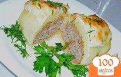 Фото рецепта: «Котлетка в картошке под сырной шапкой»