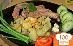 Фото рецепта: «Бюджетная тушеная картошка с куриными горлышками»