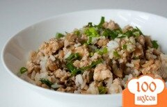 Фото рецепта: «Рубана курица с грибами и рисом»