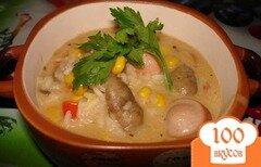 Фото рецепта: «Сливочная Паэлья с сосисками и грибами»