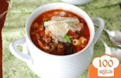 Фото рецепта: «Густой итальянский томатный суп с макаронами и фаршем»