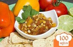 Фото рецепта: «Соус сальса с помидорами и кукурузой»