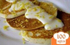 Фото рецепта: «Оладьи на кефире с лимонным кремом»