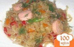 Фото рецепта: «Тушеная капуста с болгарским перцем и сосисками»