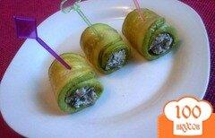 Фото рецепта: «Закусочные роллы из кабачков с грибами»