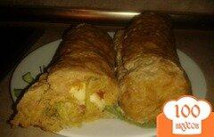 Фото рецепта: «Мясной рулет с сырно-овощной начинкой»