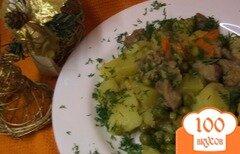 Фото рецепта: «Рагу из индейки с репой и зеленым горошком»