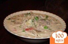 Фото рецепта: «Грибы (Вешенка) в сметанном соусе с 3 видами лука»