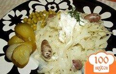 Фото рецепта: «Капуста тушеная в сметане с куриными сердечками и травами»