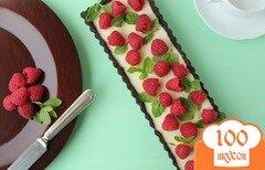 Фото рецепта: «Шоколадно-мятный тарт с малиной»