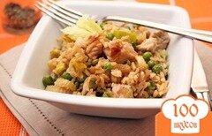 Фото рецепта: «Коричневый рис с индейкой и овощами»
