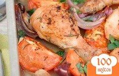 Фото рецепта: «Пряные куриные ножки с помидорами»