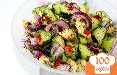 Фото рецепта: «Салат из яблок и огурцов»