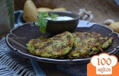 Фото рецепта: «Картофельно-шпинатные оладьи с яблоком»