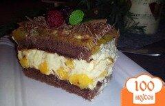Фото рецепта: «Шоколадные пирожные с начинкой из манго»