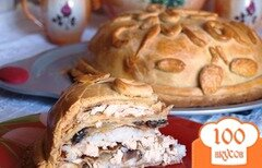 Фото рецепта: «Курник с рисом и грибами»