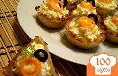 Фото рецепта: «Картофельные корзинки с сырной начинкой»