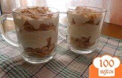Фото рецепта: «Сметанный десерт с бабанами и печеньем»