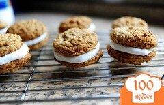 Фото рецепта: «Овсяное печенье с молочным кремом»