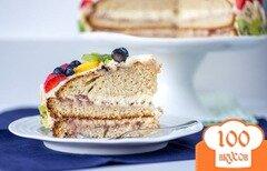 Фото рецепта: «Норвежский торт с кремом и фруктами»