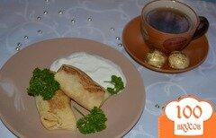 Фото рецепта: «Блины на кислом молоке с мясной начинкой»