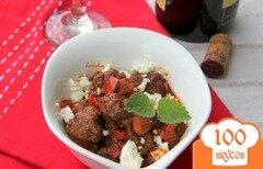 Фото рецепта: «Мясные шарики в пряном томатном соусе с фетой»