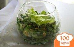 Фото рецепта: «Огуречный салат с мятой и тыквенными семечками»