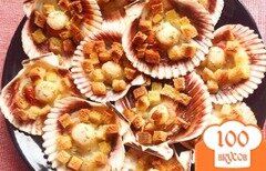 Фото рецепта: «Гребешки на раковине с сухариками»