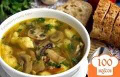 Фото рецепта: «Гречневый суп с грибами и картофельными клецками»