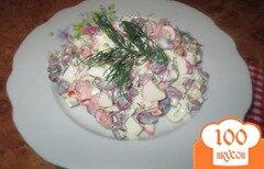 Фото рецепта: «Салат с фасолью и крабовыми палочками»